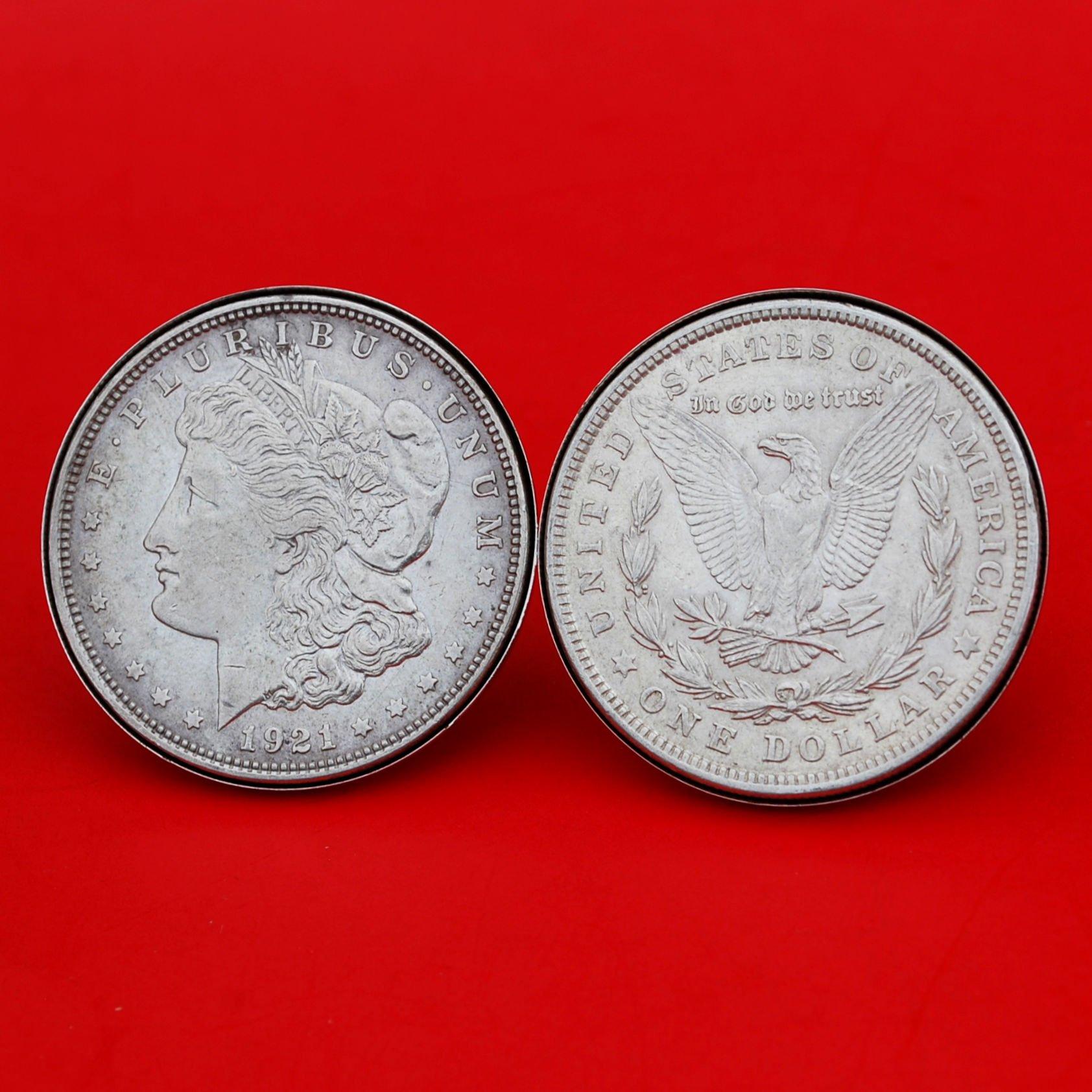 US 1921 Morgan Silver Dollar Silver Cufflinks NEW - OBVERSE + REVERSE