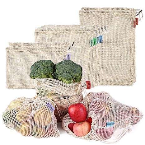 esonmus 8pcs Bolsas de la Compra Reutilizables Bolsas Reutilizables de Productos de Malla Bolsas De Compras para Juguetes De Verduras De Frutas ...