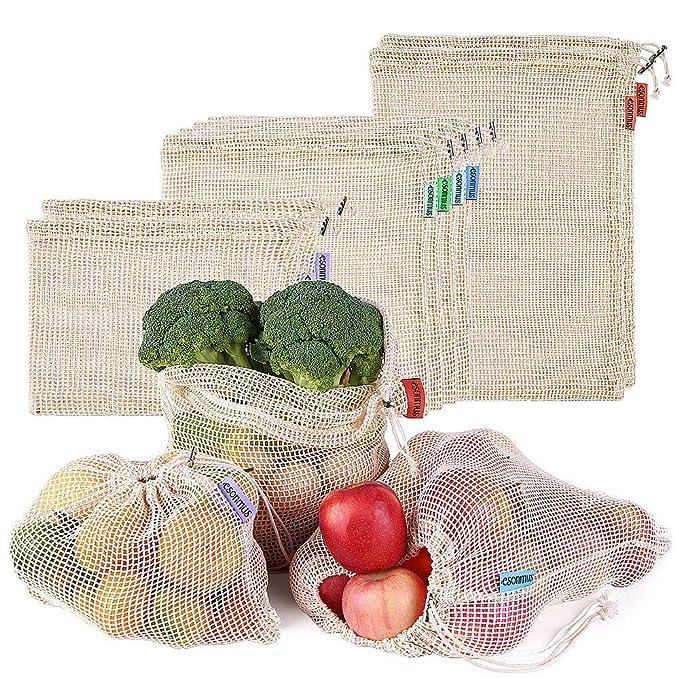 esonmus Bolsas de la Compra Reutilizables 8PCS Bolsas Reutilizables de Productos de Malla Bolsas De Compras para Juguetes De Verduras De Frutas ...