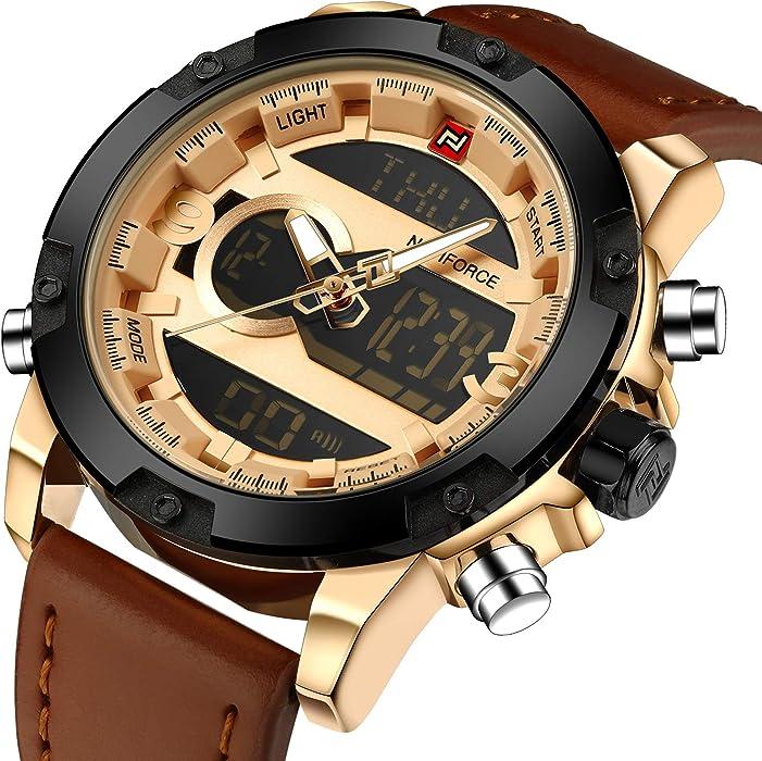 98b10f19d Mens Leather Watch Analog Digital LED Dual Time Display Waterproof Sports  Quartz Watches