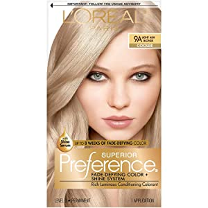 L'Oréal Paris Superior Preference Fade-Defying + Shine Permanent Hair Color, 9A Light Ash Blonde, 1 kit Hair Dye