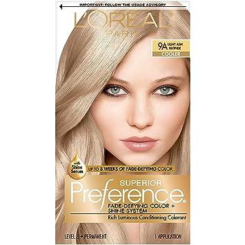 Amazon Com L Oreal Paris Superior Preference Fade Defying Shine Permanent Hair Color 9a Light Ash Blonde Pack Of 1 Hair Dye Hair Color Preference Beauty