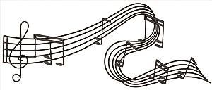 "Deco 79 90592 Music-Themed Wall Decor 49""W, 21""H Textured Black Finish"