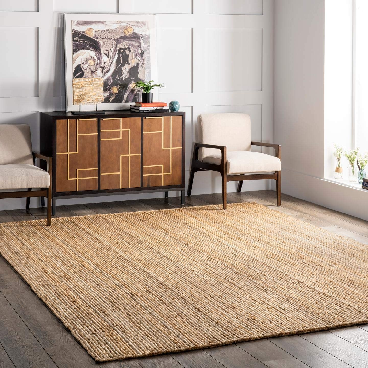 nuLOOM Rigo Hand Woven Jute Area Rug, 6' x 9', Natural: Furniture & Decor