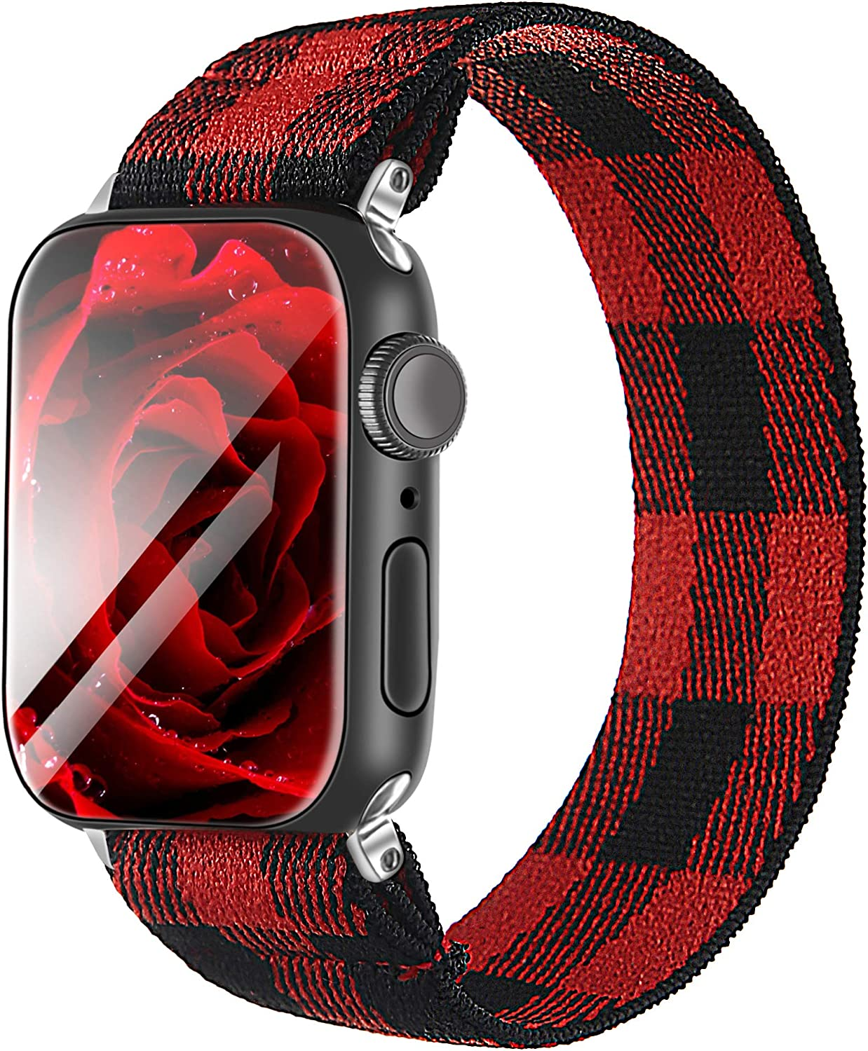Elastic Strap/Band for Apple Watch, Cloth Wool Band Wristband Strap Bracelet Women Scrunchies Compatible with Iwatch Band Series 1 2 3 4 5 (Black&Red-2, 38mm/40mm)