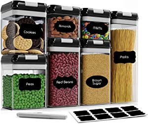 Airtight Food Storage Container Set-CINEYO-7 Piece Set Clear Plastic Canisters For Cereal, Flour with Easy Lock Lids, for Kitchen Pantry Organization and Storage, Include Labels and Marker (Black)