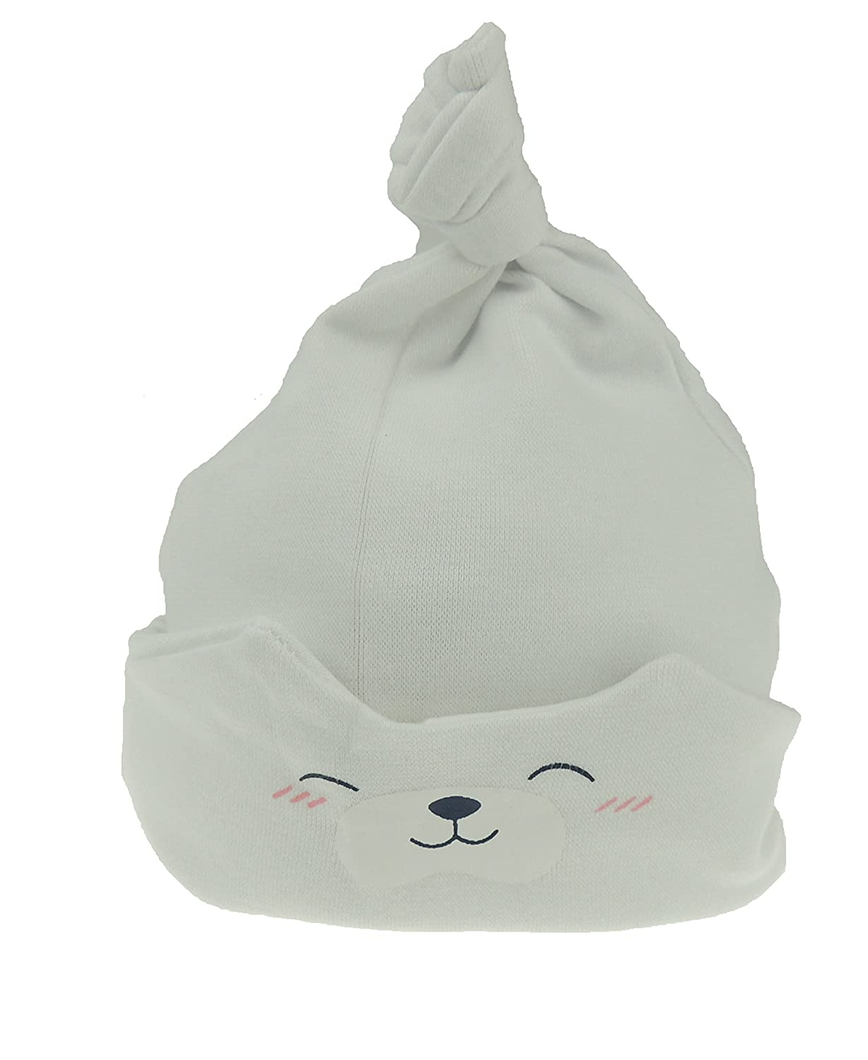 White Baby Girls Boys Teddy Bear Sleep Beanie Hat Fold Up Fold Down from New-Born to 24 Months