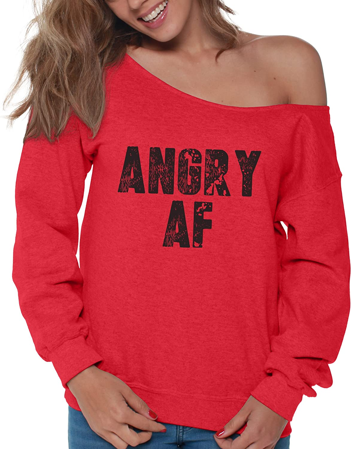 Vizor Womens Angry AF Off Shoulder Tops Sweatshirts Gifts for Political Protest