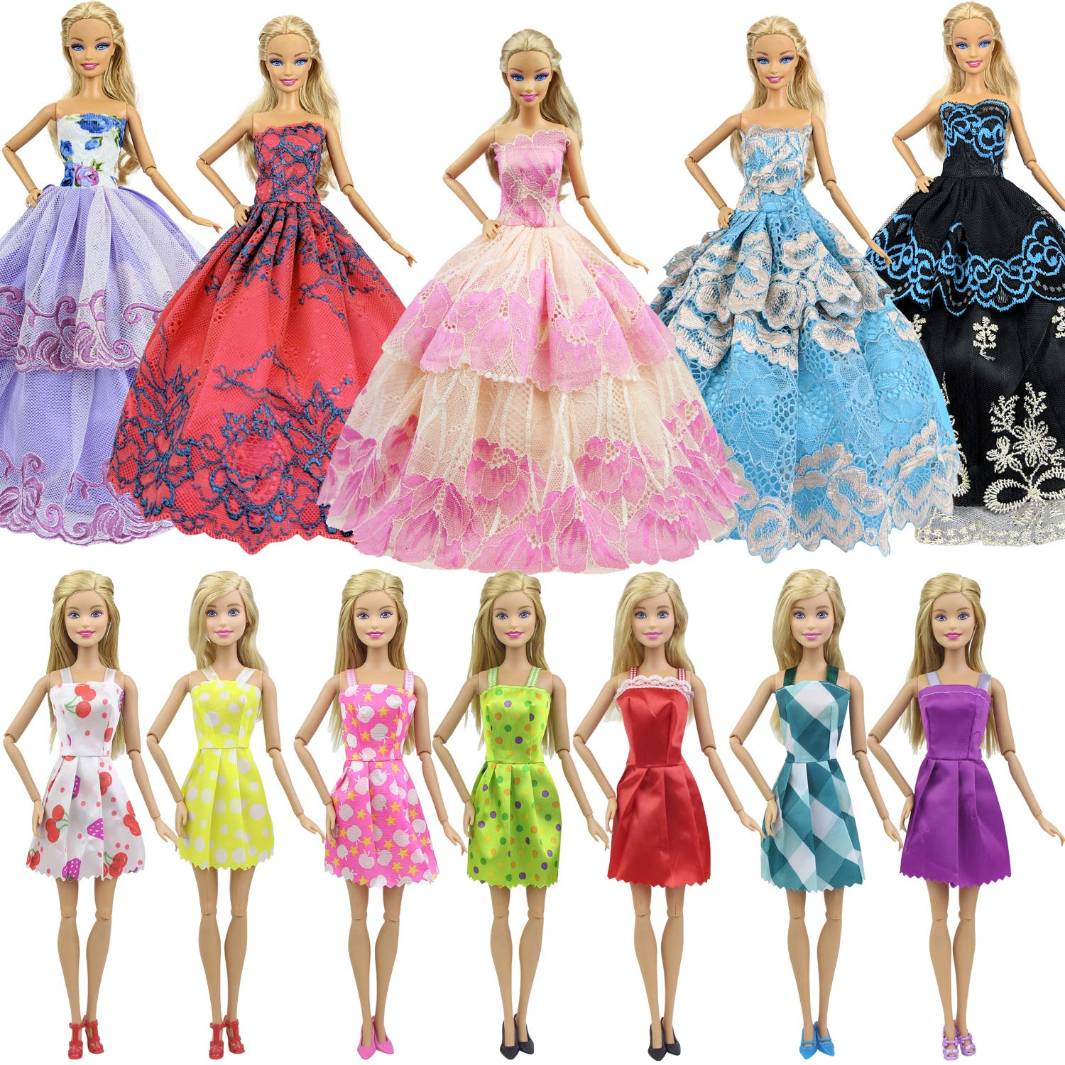 10Pcs  Doll Clothes Accessories Huge Lot Party Gown Outfits Girl Gift LE
