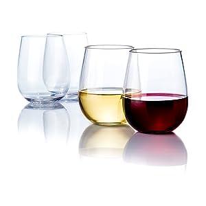 Savona Elegant Stemless Plastic Wine Glasses Unbreakable Wine Glasses | Ideal for Indoor/Outdoor Use | Dishwasher Safe | 100% Tritan Shatterproof Wine Glasses | Set of 4