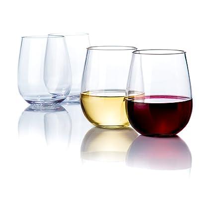 da93eff77c9 Savona Elegant Stemless Plastic Wine Glasses Unbreakable Wine Glasses    Ideal for Indoor/Outdoor Use   Dishwasher Safe   100% Tritan Shatterproof  Wine ...