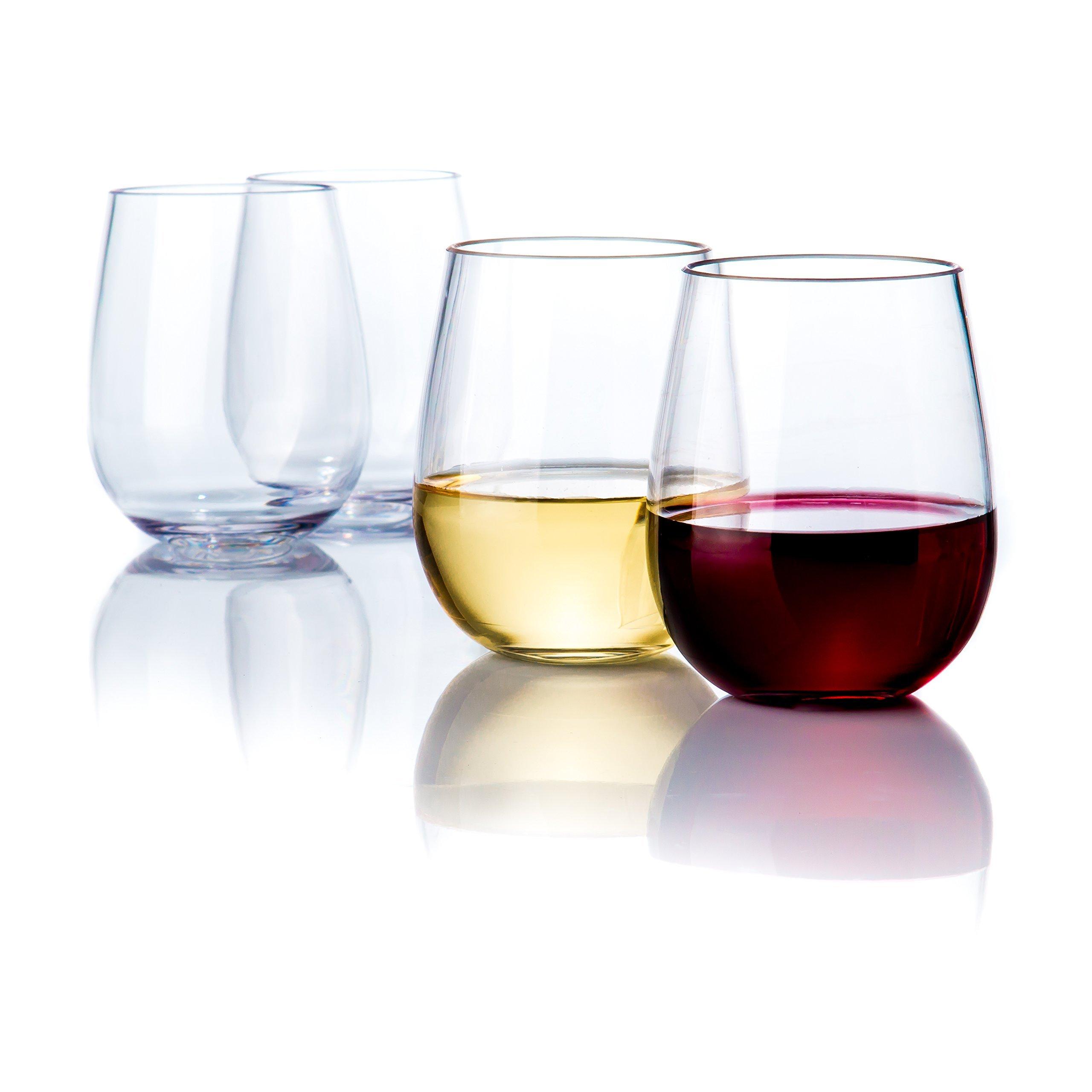 Elegant Stemless Plastic Wine Glasses by Savona | Unbreakable Wine Glasses | Ideal for Indoor/Outdoor Use | Dishwasher Safe | 100% Tritan Shatterproof Wine Glasses | Set of 4