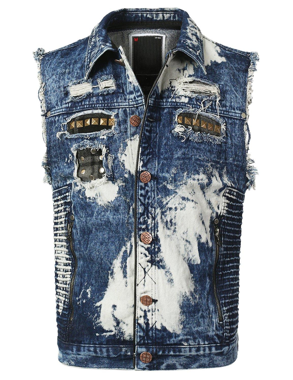 URBANCREWS Mens Hipster Hip Hop Washed Biker Denim Vest Jean Jacket Blue, L