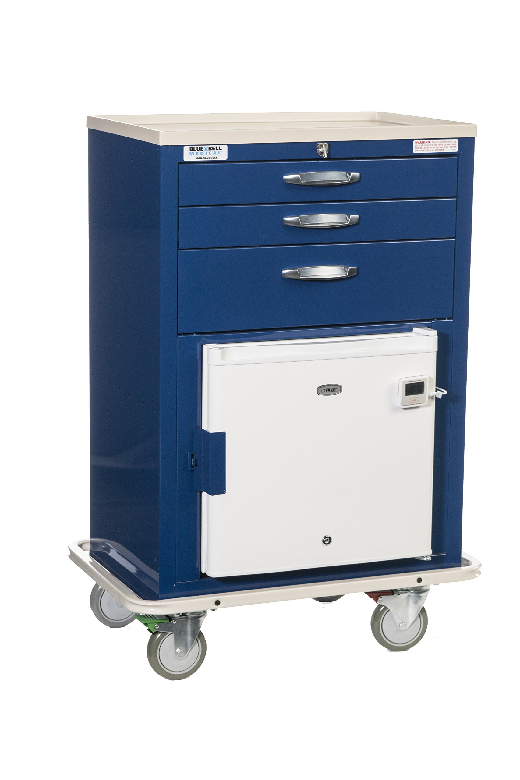 Blue Bell Medical 89022 BHC-2, Basic MH Cart, Breakaway Lock ,Professional Emergency Medical Crash Supply Cart For Anesthesia Treatment And Medical Equipment Storage