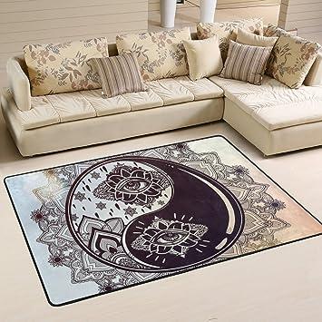 Amazon De Coosun Yin Yang Blumen Teppich Rutschfest Fur Wohnzimmer