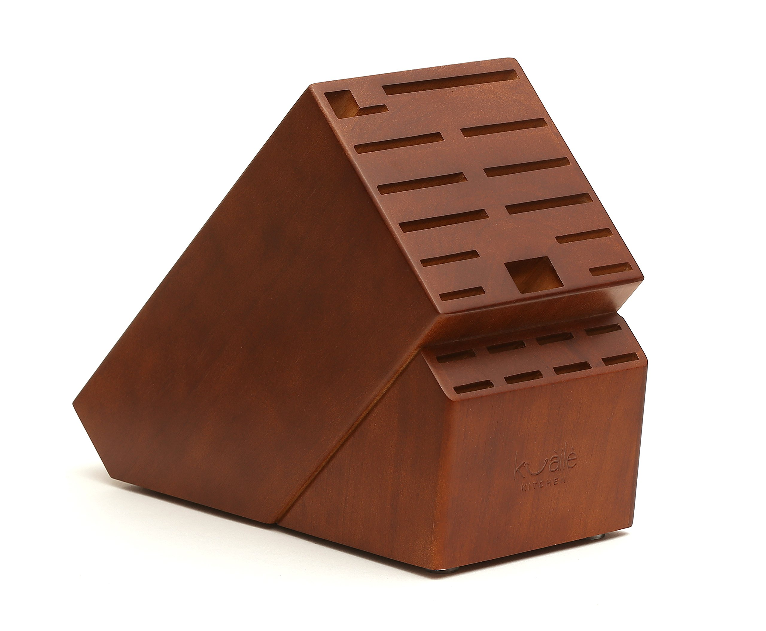 21 Slot Universal Solid Wood Kitchen Knife Storage Block (Walnut Stained Hardwood) Without Knives