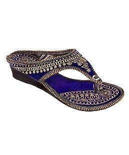 Femme Royale Rajasthani/Jaipuri Ethnic Golden Zari Embroidery Work Chappal Sandal|Color : Blue| Size: Ind/UK: 7; EU: 40