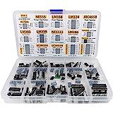 XL IC Chip Assortment 150 pcs, opamp, oscillator, pwm, PC817, NE555, LM358, LM324, JRC4558, LM393, LM339, NE5532, LM386, TDA2030, TDA2822, PT2399, UC3842, UC3843, ULN2003, ULN2803, 7660 incl. Sockets