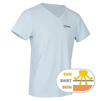 TanMeOn Camiseta de Bronceado para Hombres, recibe Bronceado bajo la Camiseta, Corte con Cuello