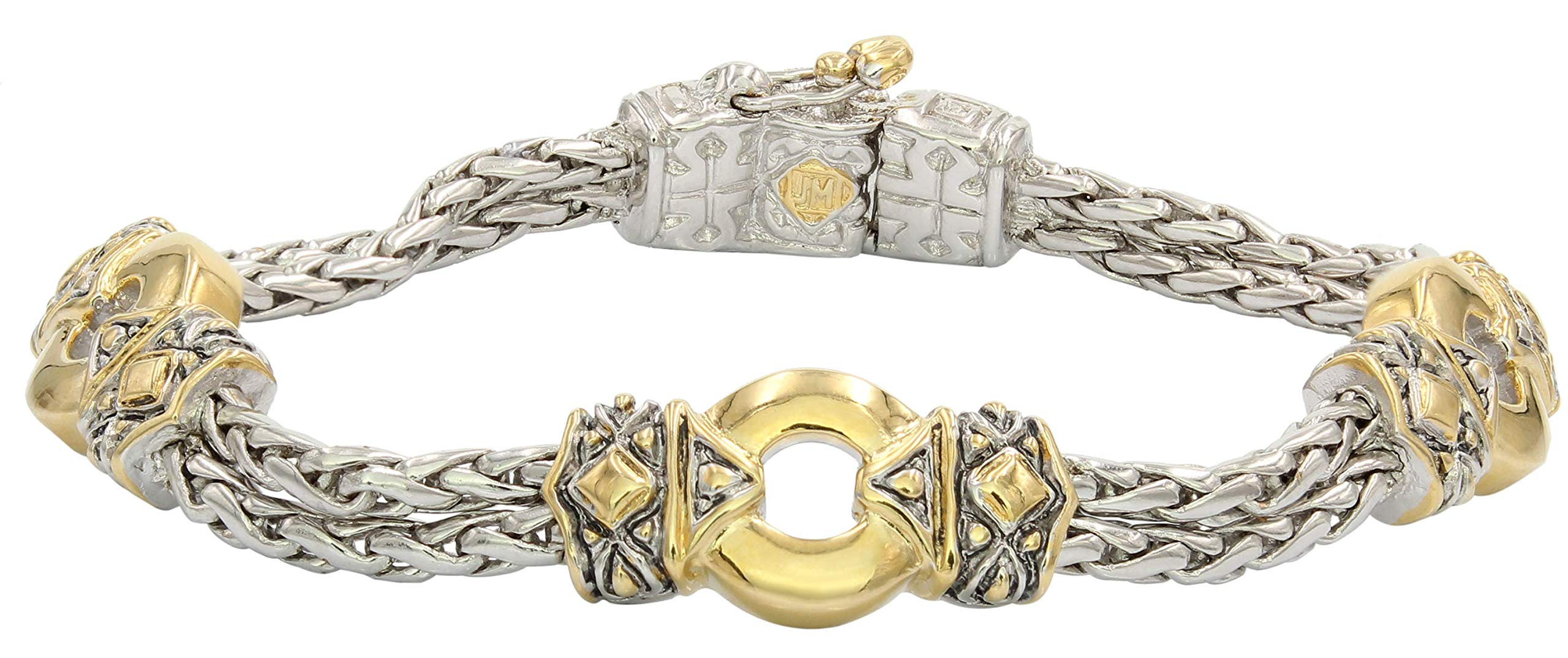 John Medeiros Antiqua Collection Two-Tone Circle Three Station Circle Double Strand Handcrafted Bracelet Made in America by John Medeiros