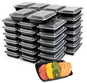 "50-Pack Meal Prep Plastic Microwavable Food Containers meal prepping & Lids.""{32 OZ.}"" Black Rectangular Reusable Storage Lunch Boxes -BPA-free Food Grade- Freezer Dishwasher Safe -""PREMIUM QUALITY"""