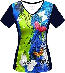 d06de3773 FloraVelo Women s Butterfly Bling Short Sleeve Cycling Jersey