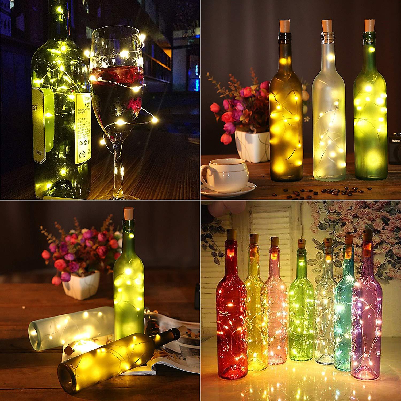 Opard Flaschenlicht LED Flaschen-Licht Lichterkette flaschenlichterkette korken LED Nacht Licht Weinflasche Hochzeit Party romantische Deko Warmes Weiss-6 Pack