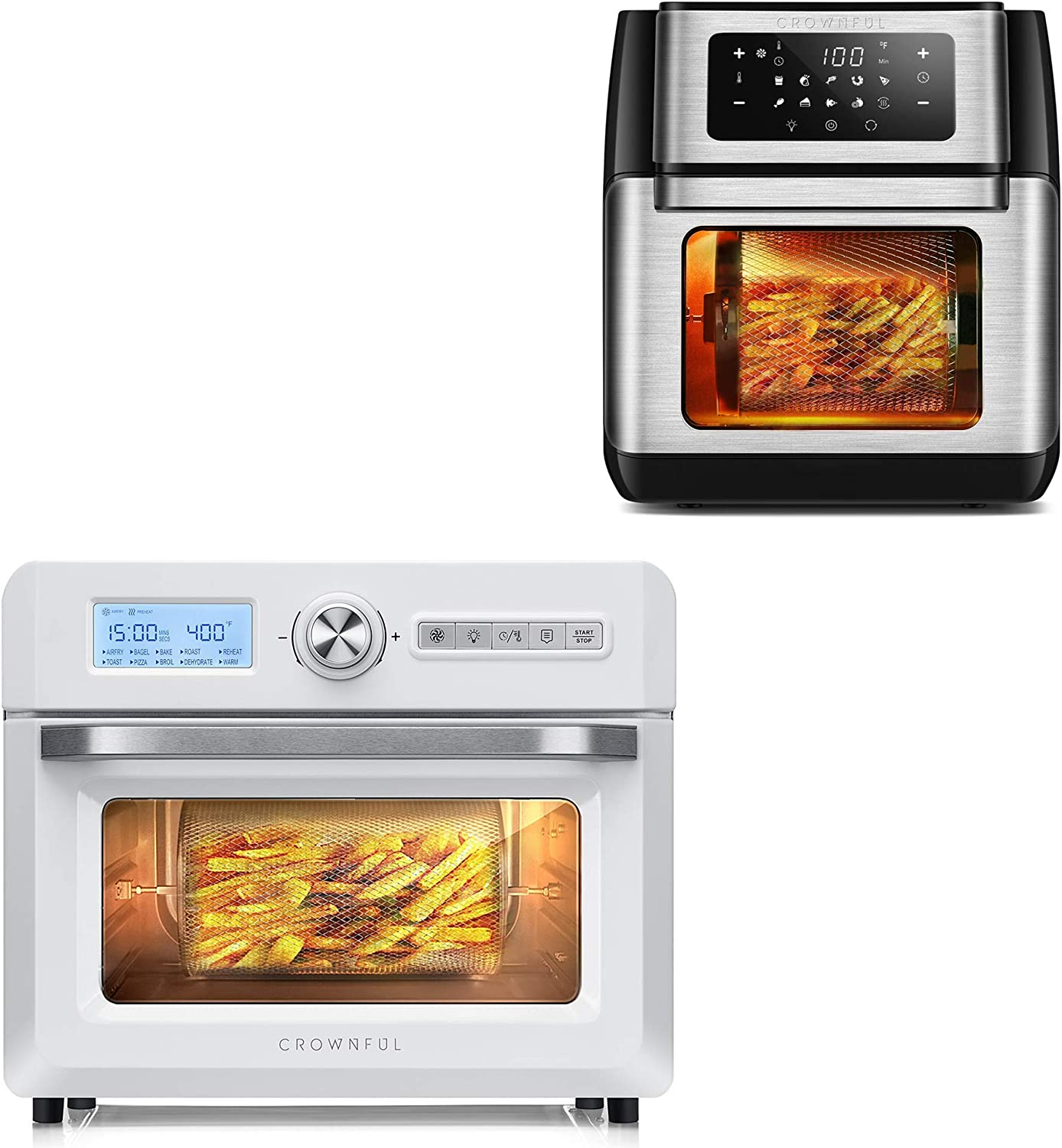 CROWNFUL 9-in-1 Air Fryer Toaster Oven and 19 Quart Air Fryer Oven, Convection Roaster with Rotisserie & Dehydrator