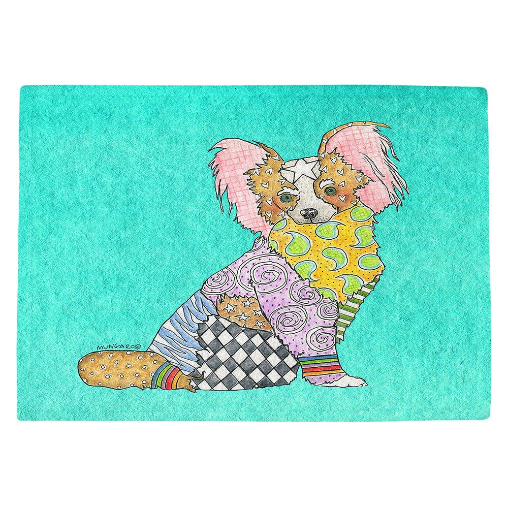 DIANOCHEキッチンPlaceマットby Artist Marley Ungaro – パピヨンターコイズ Set of 4 Placemats PM-MarleyUngaroPapillonTurquoise2 Set of 4 Placemats  B01N0APW3K