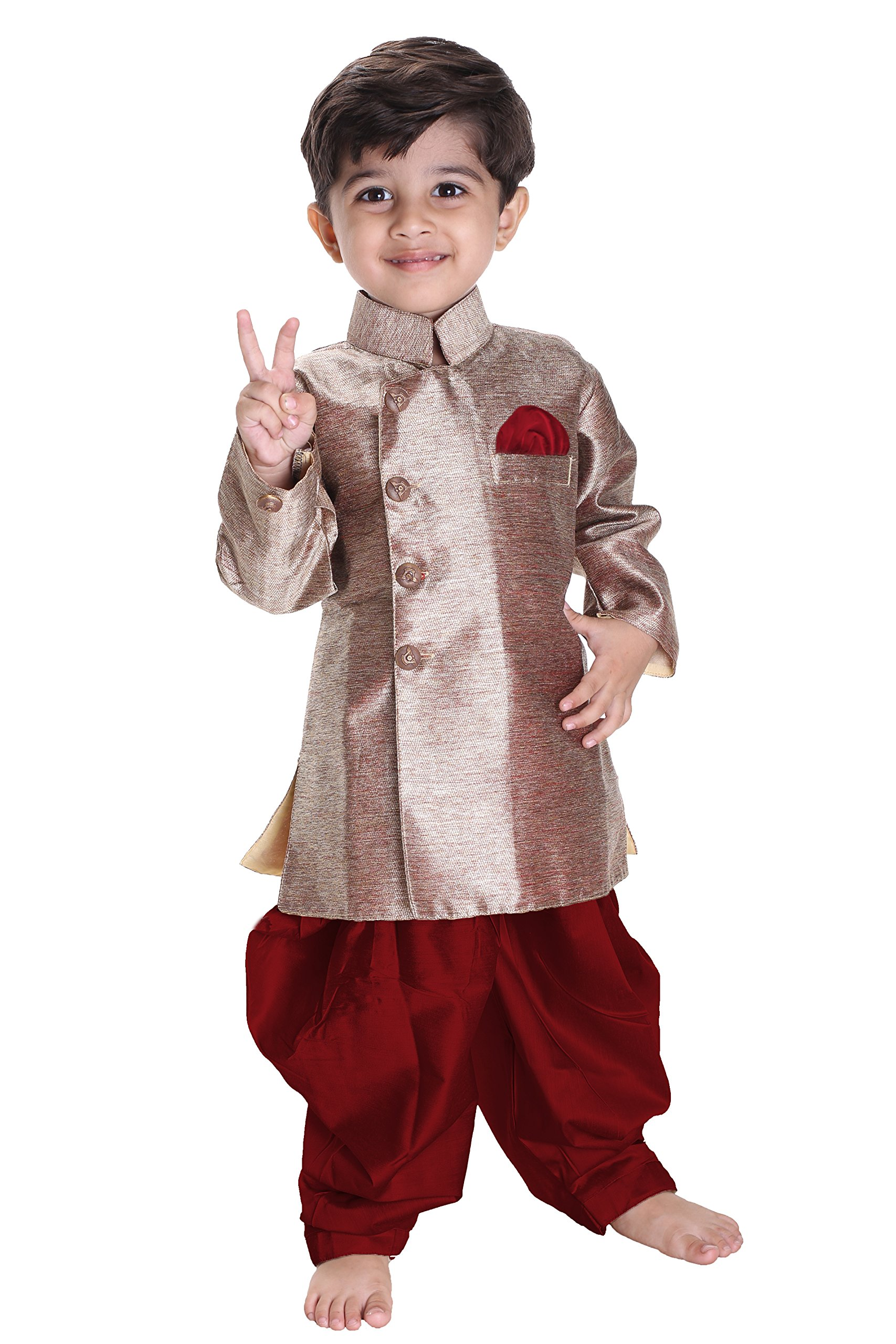 JBN Creation Boys' Gold Cotton Blend Sherwani Style Kurta Set(VASBSW121MA_36)