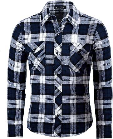 Camisa de franela para hombre Allegra K con bolsillos. - Azul - Small (44) : Amazon.es: Ropa y accesorios