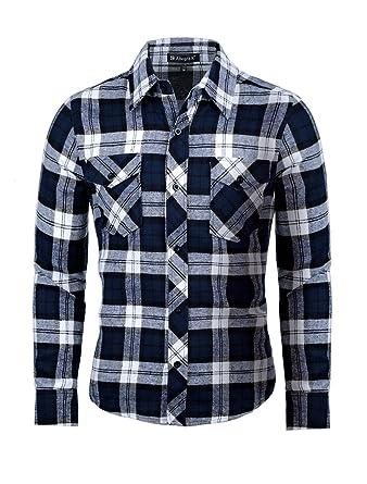b40c4e0d1d20 uxcell Men's Long Sleeves Check Print Casual Plaid Flannel Shirt Blue S US  34