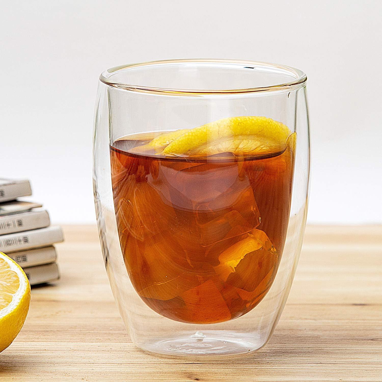 Nicetruc Copa 4PCS a Prueba de Calor de Doble Pared Copa de Cerveza de Cristal del caf/é Express de la Taza del t/é Hecho a Mano Vaso de Whisky de Cristal Copas Vasos