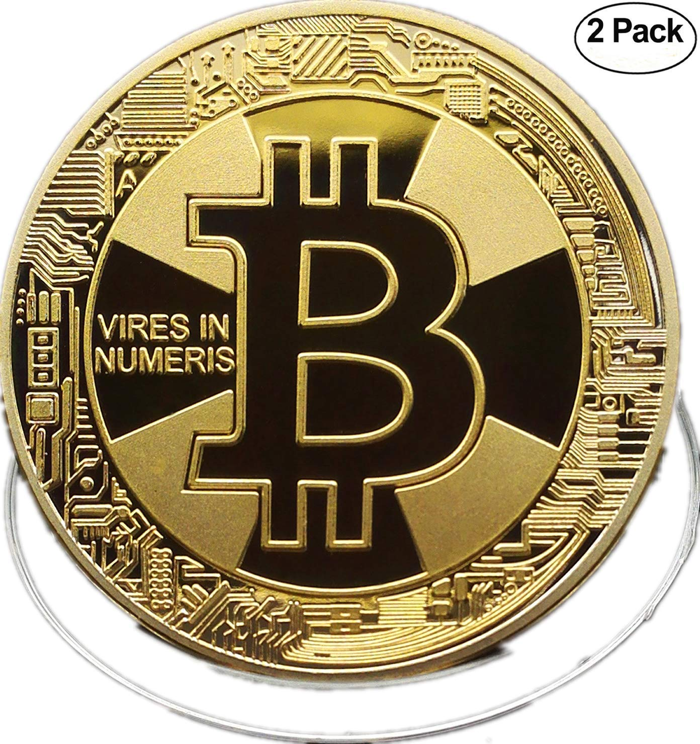 BITCOIN Coin, 18K GOLD, [2-pack] Deluxe Collector's Set | Featuring the Limited Edition Original Commemorative Tokens | Each Coin is enclosed in a Display Case Baseshop