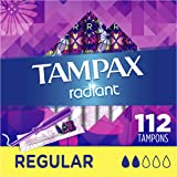 Tampax Radiant Plastic Tampons, Regular Absorbency, Unscented, 28 Count (Pack of 4) (112 Count Total) (Packaging May…