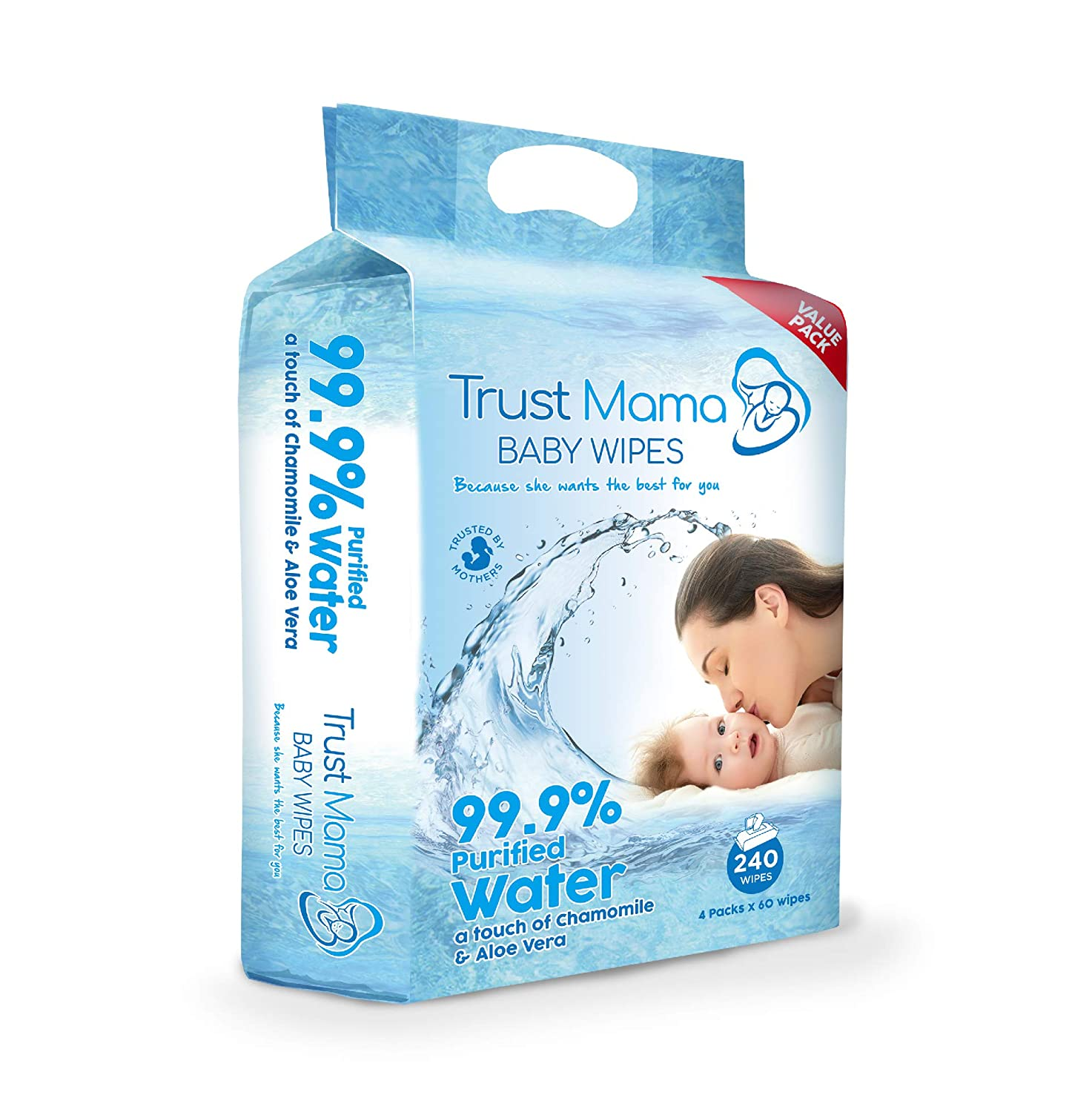 Trust Mama Baby Wipes Complete Clean Extra Sensitive Newborn Skin 99.9/% Water 240 Wipes 4 Packs of 60 Wipes