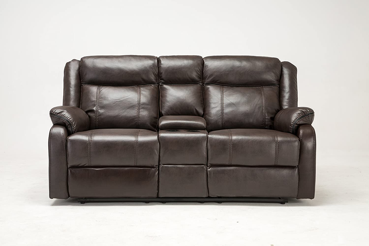 in glider recliner w double center brown loveseat leather marille homelegance reclining hm console