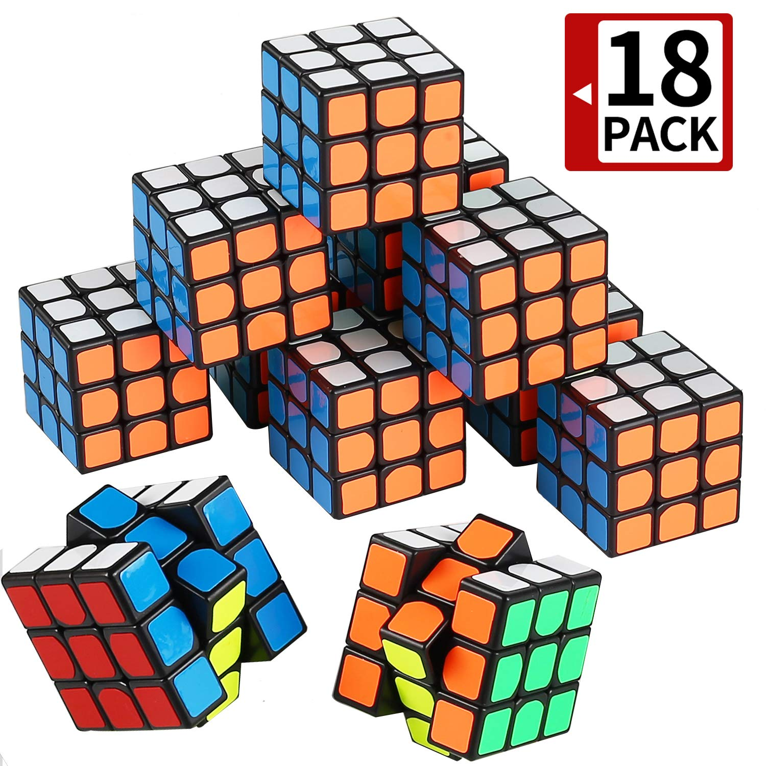 Mini Cube, Puzzle Party Toy(18 Pack), Eco-Friendly Material with Vivid Colors,Party Favor School Supplies Puzzle Game Set for Boy Girl Kid Child, Magic Cube Goody Bag Filler Birthday Gift by MAPIXO