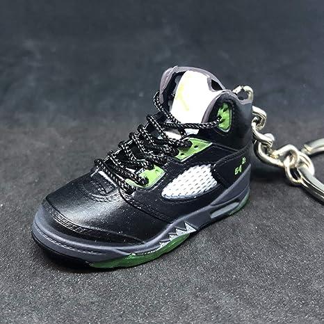 626e03e2c3759e Amazon.com   Air Jordan V 5 Retro Black Green Quai Q54 OG Sneakers Shoes 3D  Keychain Figure   Everything Else