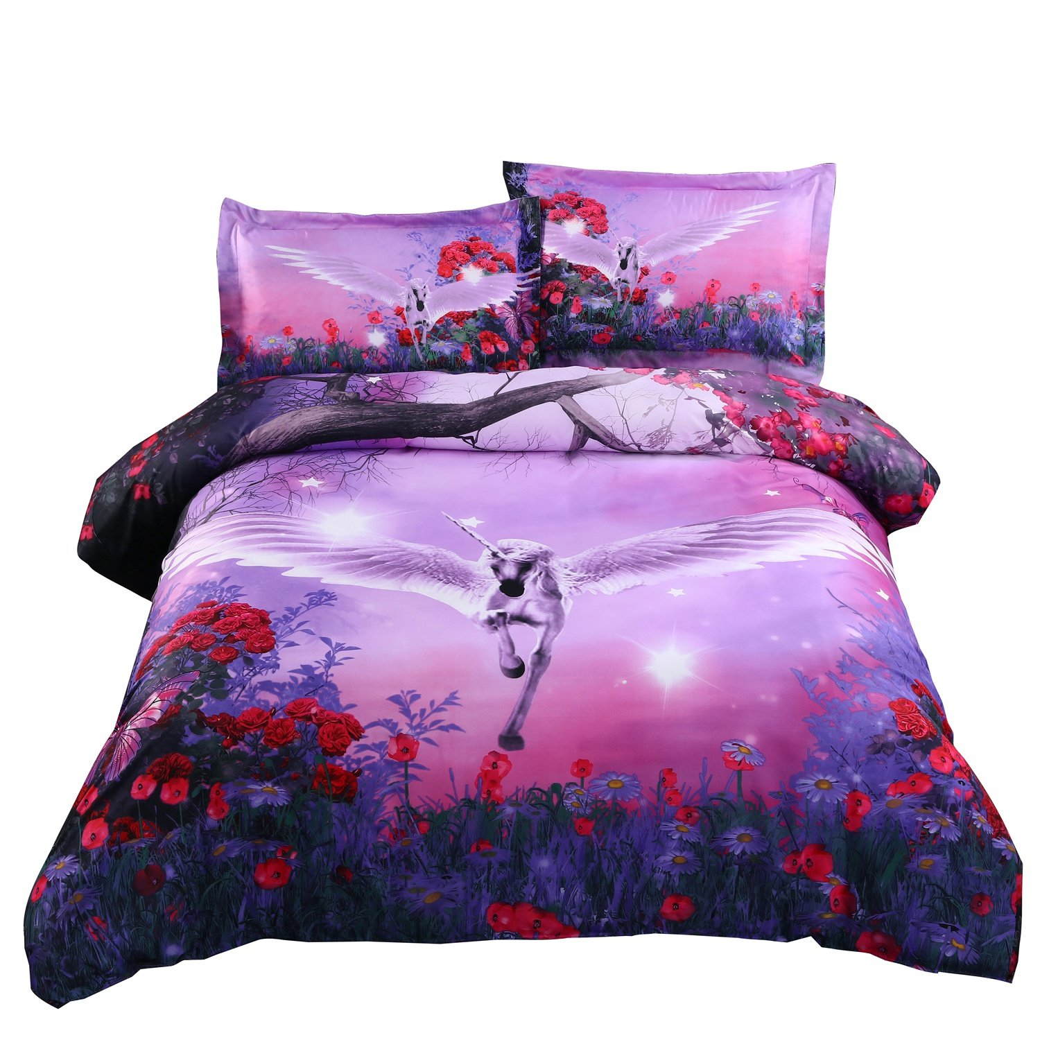Alicemall 3D Unicorn Bedding Purple Bedding Set Dreamlike Flying Horse with Wings Purple Polyester 3D College Bedding Set, 4 Pieces, Duvet Cover, Bed Sheet and 2 Pillow Cases (Twin XL)