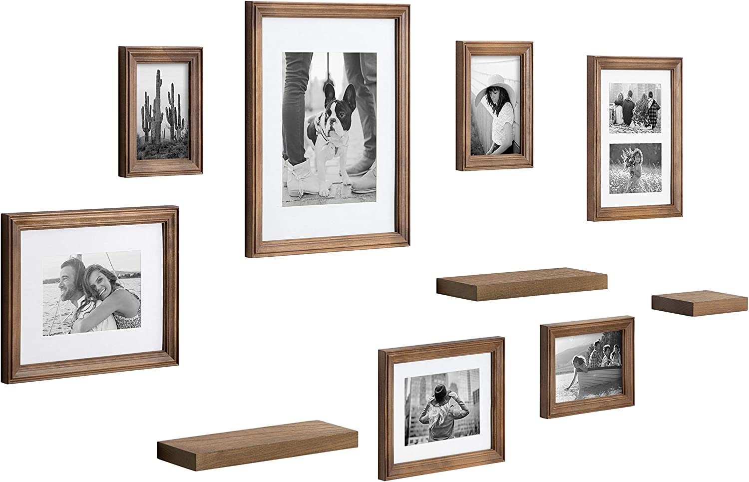 Kate and Laurel Bordeaux Gallery Wall Frame and Shelf Kit, Set of 10, Natural, Assorted Size Frames with Wood Finish and Three Display Shelves Included