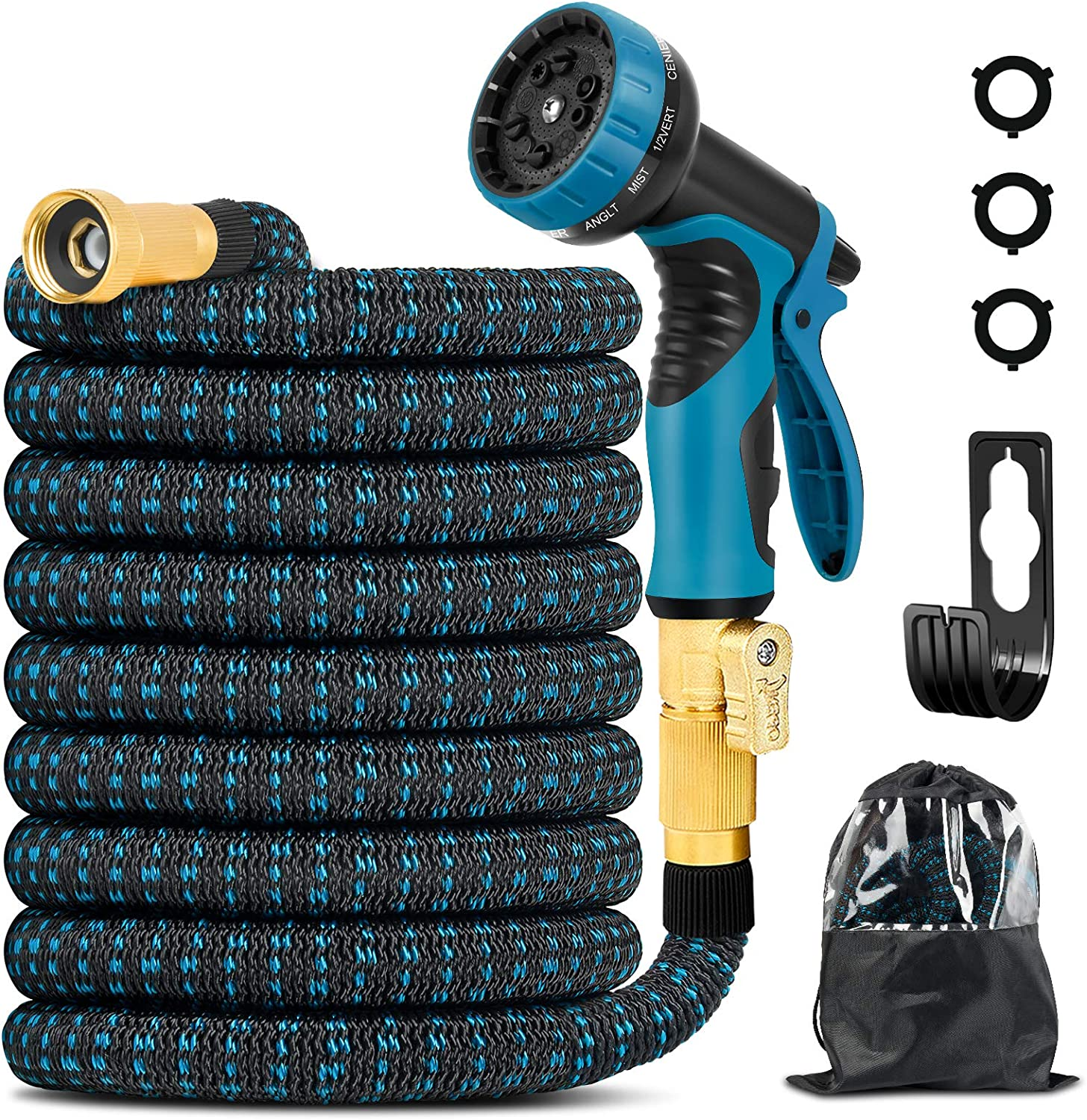 25ft Expandable Garden Hose - Flexible Water Hose 3/4 Inch Solid Brass Connector with 10 Function Nozzle and Storage Bag, Expanding Hose for Watering Flowers, Lawn, Cleaning