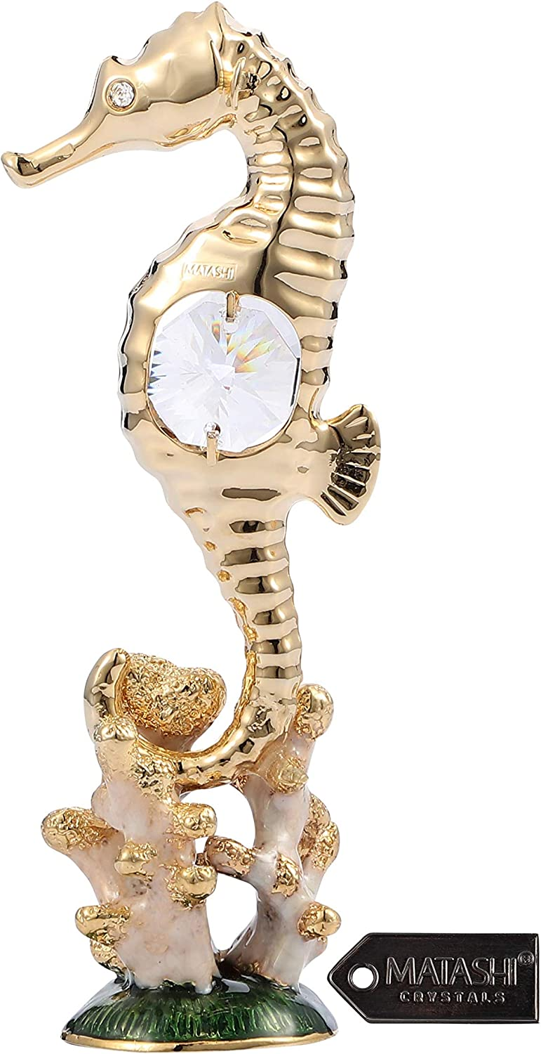 Matashi Gorgeous 24K Gold Plated and Enamel Sea Horse Table Top Home Decorative Showpiece Gift for Christmas Mother's day Birthday Anniversary Living Room Bedroom Decor Gift for Mom Dad Girlfriend