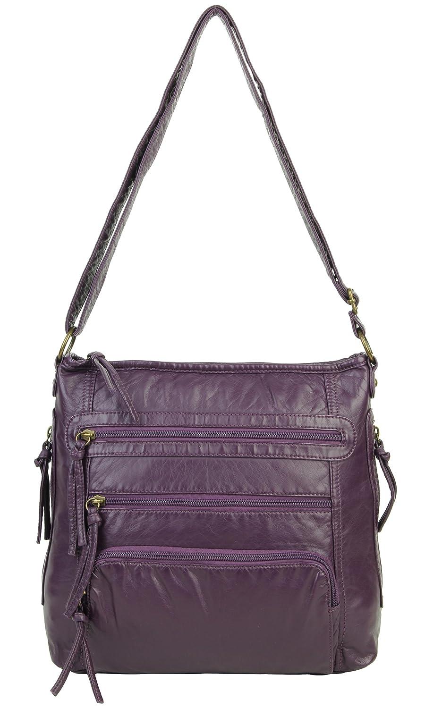 6ec52f68e8ae Soft Vegan Leather Crossbody Purse Shoulder Bag for Women with Multiple Zip  Pockets