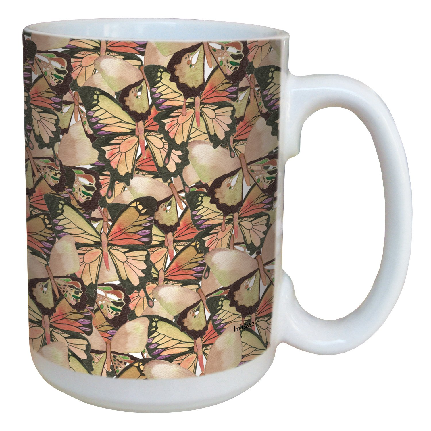 Tree-Free Greetings lm43652 Amazing Butterfly Pattern by Shell Rummel Ceramic Mug with Full-Sized Handle 15-Ounce Multicolored