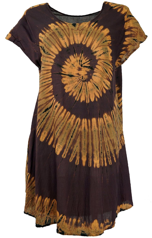 Guru-Shop Batik Tunika, Hippie Chic, Strandkleid, Sommerkleid, Damen, Rot, Synthetisch, Size:40, Kurze Kleider Alternative Bekleidung