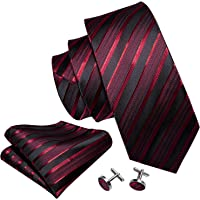 Barry.Wang Mens Tie Set Handkerchief Cufflinks Solid Color Neckties Plain Silk Ties