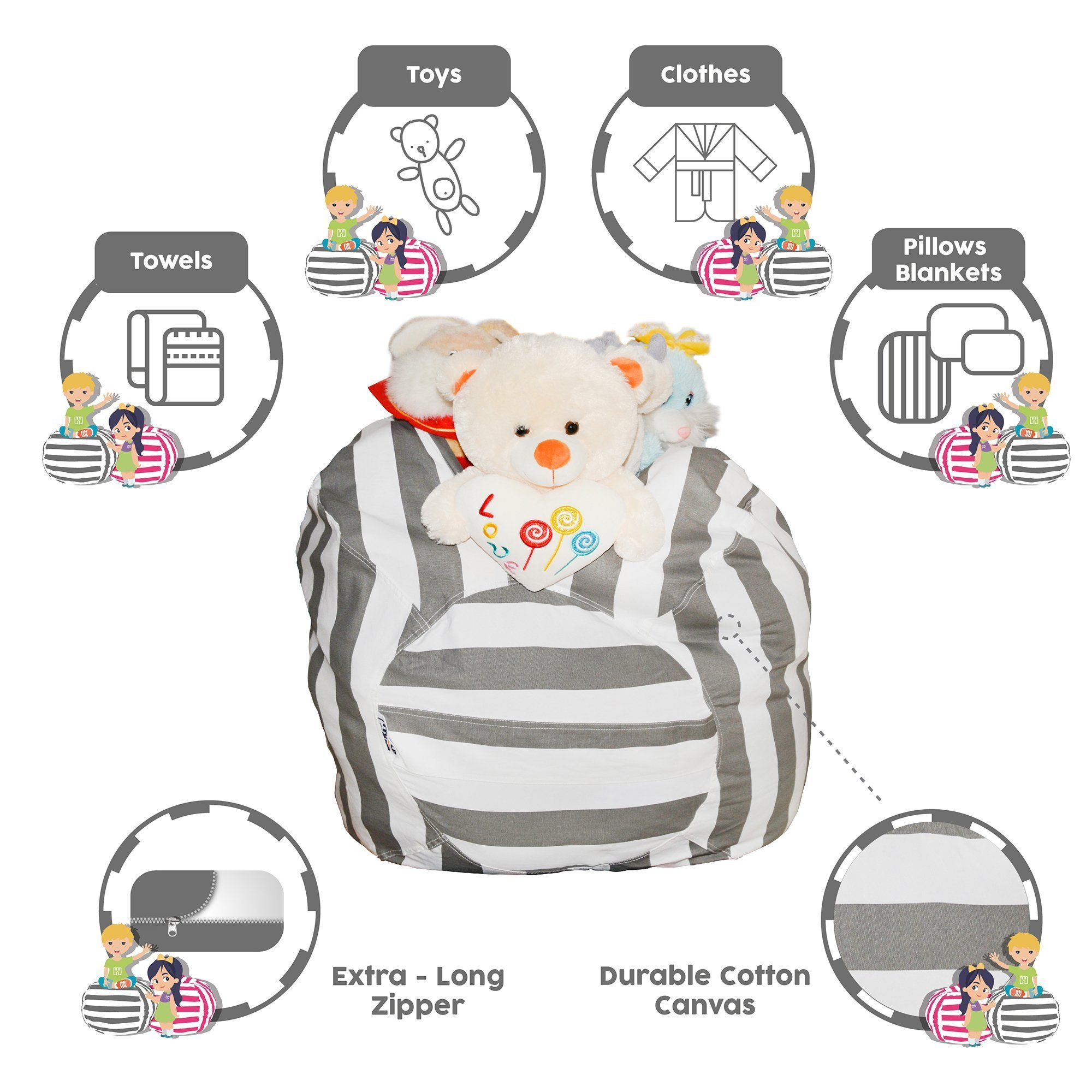 Hold The Door Extra Large Stuffed Animal Storage Bean Bag Chair - Toy Organizer & Comfy Chair - Perfect Storage Solution for Plush Toys, Blankets, Towels & Clothes - (Grey Striped, 38'') by Hold The Door (Image #3)