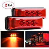 Nilight - TL-32 2PCS 3.9Inch 3 LED Truck Trailer Red Light Front Rear LED Side Marker Lights Clearance Indicator Lamp…