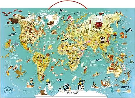 Amazon Com Vilac 76 X 50 X 1cm World Map Magnetic Puzzle 78